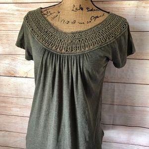 PRANA Nelly Crochet Scoop Neck Shirt M